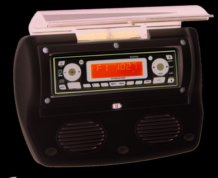 "Poly-Planar WC-700 Marine Boat Waterproof Stereo Radio Housing with 3/"" Speakers"