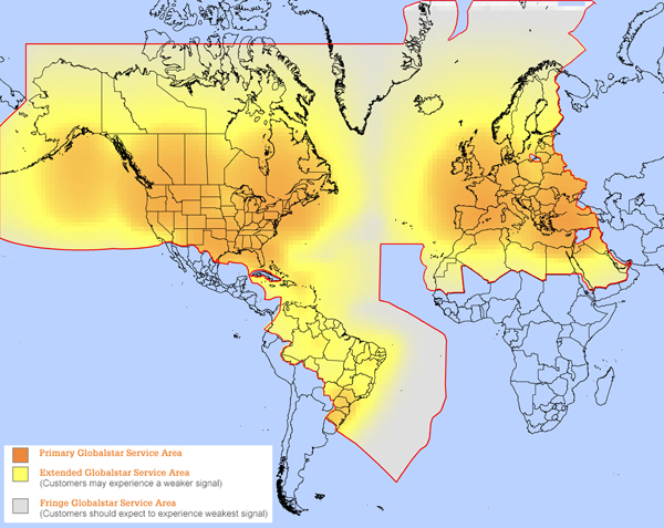 Globalstar Home Coverage Map